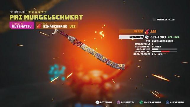 Das Pri Murgelschwert ist von seinen Grundwerten her die stärkste vorgefertigte Nahkampf-Waffe im Spiel.