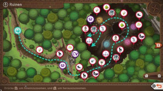 """Karte mit Pokémon-Fundorten auf der Strecke """"Ruinen""""."""