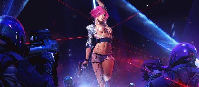 Im Rotlichtviertel in Cyberpunk 2077 geht's mächtig zur Sache.