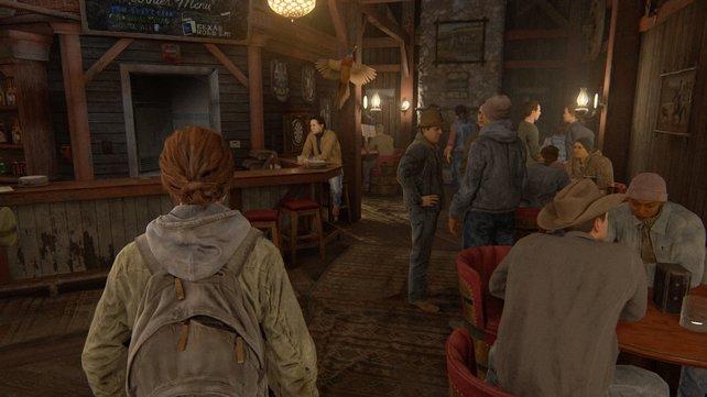 """Folgt Jesse durch Jackson und betretet hier den alten Saloon """"The Tipsy Bison"""", wo ihr euch mit einigen Personen unterhalten müsst."""
