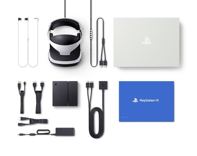 Die Brille, Ohrhörer, eine Prozessoreinheit und eine Menge Kabel - das ist der Lieferumfang von PlayStation VR
