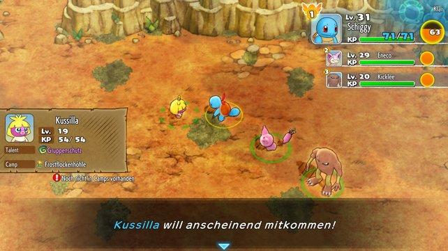 Auf der linken Seite werden alle Informationen eingeblendet, wenn ein Pokémon mitkommen möchte.