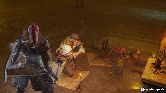 Sankt Urbain hängt in einer Höhle in Welt 4-2 von Demon's Souls und wartet auf seine Rettung. Hier seht ihr ihn im Nexus.