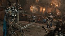 Ritter und Wikinger hacken mit Lichtschwertern aufeinander ein