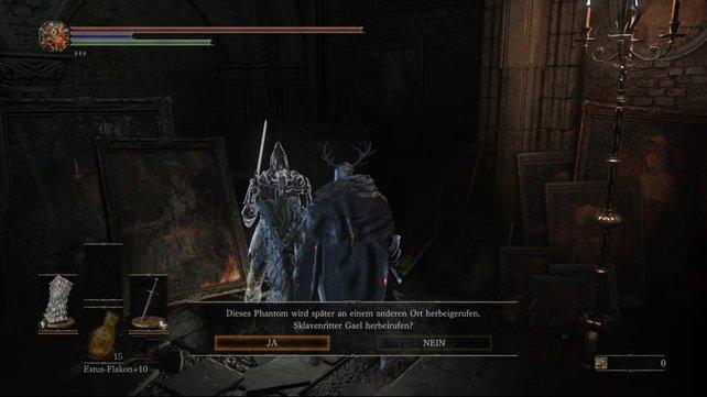 Vor dem Kampf gegen Schwester Friede solltet ihr das NPC-Phanton, den Sklavenritter Gael beschwören, der euch beim Boss-Kampf unterstützt.