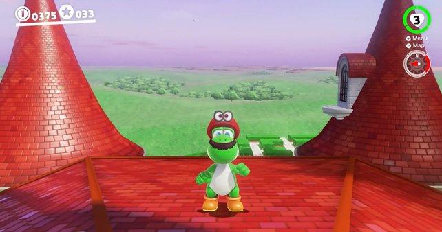 Ihr wolltet schon immer wissen, wie Yoshi mit einem Schnauzer aussehen würde? Super Mario Odyssey beantwortet euch das!