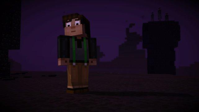 Die drei Endermänner im Hintergrund werfen mehrere Augen auf Jesse.