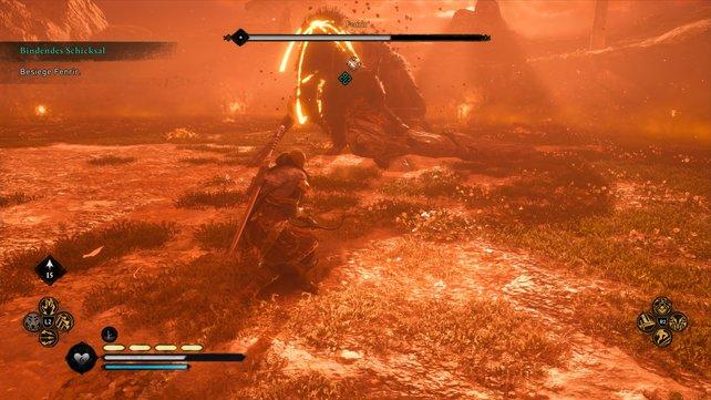 In Phase 2 des Kampfes gegen Fenrir müsst ihr auf den Baumstamm achten, der dessen Reichweite vergrößert.