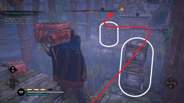 Um die Kiste zum Zielort zu bringen, müsst ihr die Hindernisse so verschieben, dass ihr auf diese draufspringen könnt.