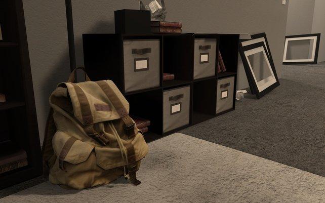 Ein Screenshot von Steam. Zu sehen sind die leere Wohnung und ein Rucksack mit allem Hab und Gut, das ihr noch besitzt.