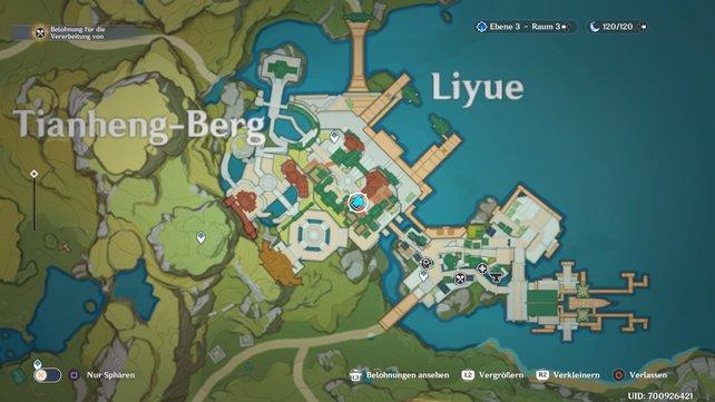 Hier findet ihr den Andenkenhändler in Liyue.