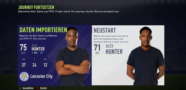 Wenn ihr einen FIFA 17-Spielstand habt, könnt ihr mit einer Wertung von 75 ins Spiel starten.