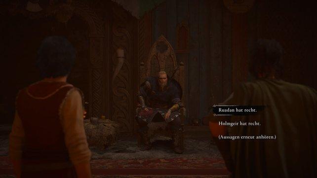 Zurück in Hraefnathorp müsst ihr an Sigurds Stelle einen Rechtsstreit schlichten. Ihr seid nun also Richter!