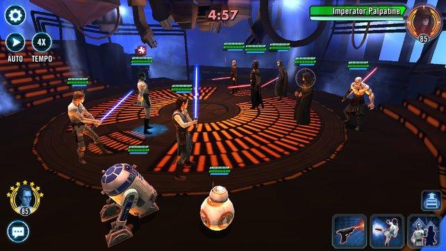 In Galaxy of Heroes könnt ihr Charaktere aus Filmen, Spielen & Co. sammeln, verbessern und zusammen kämpfen lassen.
