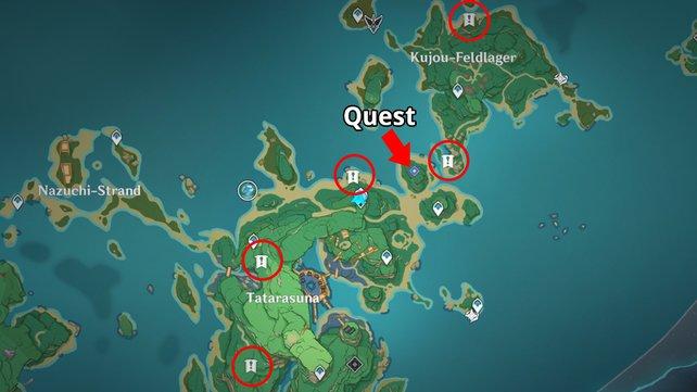 Die Karte zeigt euch den Startpunkt der Quest und die Fundorte der fünf Donner-Sakura.