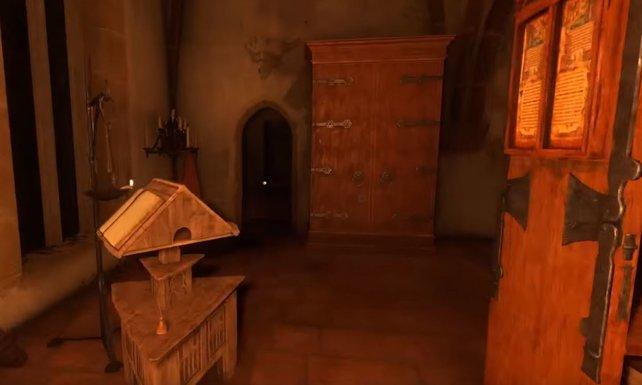 Habt ihr alle verlorenen Seiten im Kloster gefunden, gibt es Zugang zum verschlossenen Bereich der Bibliothek.