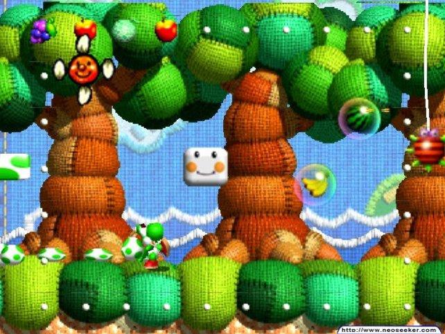 Der Grafikstil erinnert sehr an Yoshi's Woolly World. Die beiden Spiele trennen knapp 18 Jahre. Trotzdem gab es dazwischen nicht ein Heimkonsolenabenteuer für den Dino.
