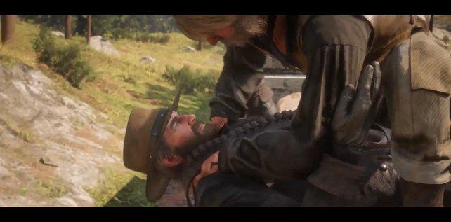 Nachdem ihr auf den Zug aufgesprungen seid, werdet ihr sofort von einem Banditen attackiert. Wehrt den Angreifer ab und werft ihr vom Zug herunter.