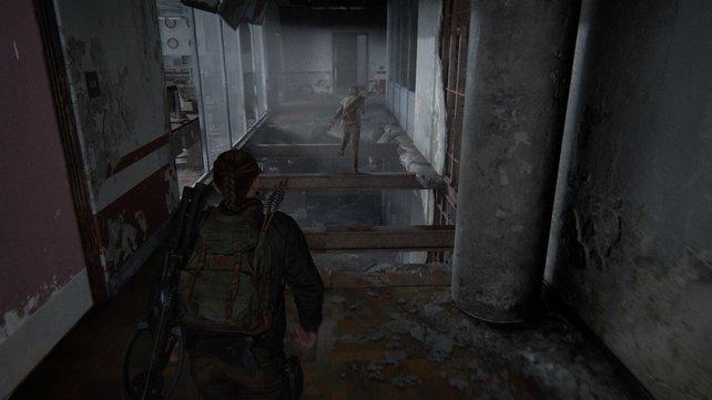 Abby kann nicht so leichtfüßig über die Stahlträger springen und muss links durch die Tür, um außenherum zu gehen.