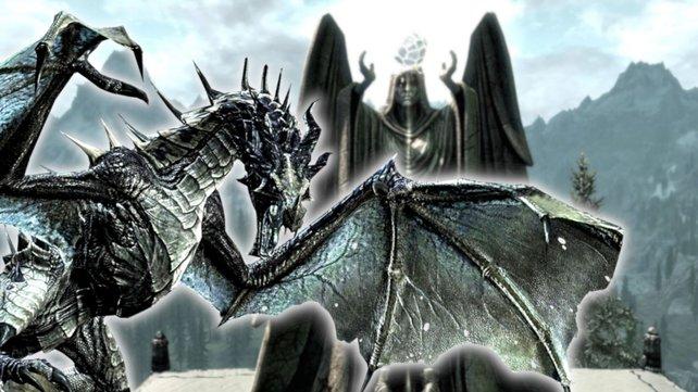 Drache in Skyrim greift einen Gott an.