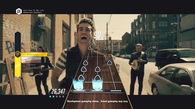 Bei Guitar Hero TV spielt ihr mit, während das Musikvideo im Hintergrund abläuft.