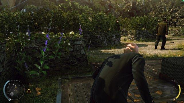 Die Wachen im Garten lassen sich einfach ablenken. Oder ihr schleicht geschickt an ihnen vorbei - von der einen oder anderen Seite.