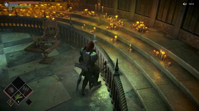 Schleicht nah an der Wand des Altars von Götzenbild, um das Item einsammeln zu können. Es handelt sich hierbei übrigens um die Waffe Pestklaue.