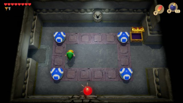 Platziert eine Bombe an diese Stelle, um einen geheimen Durchgang freizulegen.