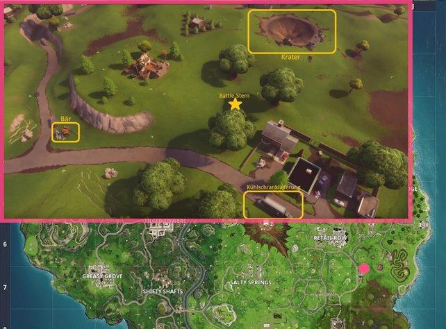 Der kleine pinke Punkt unten rechts zeigt euch den Fundort zwischen einem Bär, einem Krater und einer Kühlschranklieferung in der Nähe von Retail Row.