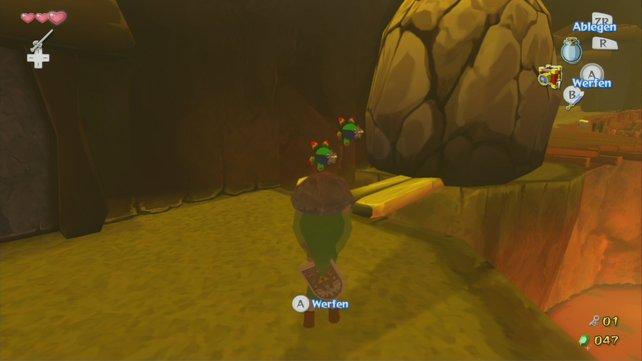 Ein Steinwurf entzündet die Bombenblumen, die dann den Felsen sprengen.