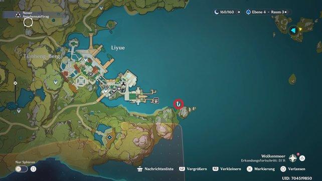 Die Karte zeigt euch die Angelstelle in der Hauptstadt von Liyue.