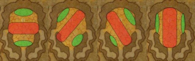 """Die Ausrichtungen Onyxias. Die Drachen-Lady und der Schadensgebiet ist hier rot dargestellt und die """"Safe Zones"""" mit grün. In Phase 2 solltet ihr euch, wenn der """"Atem"""" angekündigt wird, immer in diesen grünen Zonen aufhalten."""