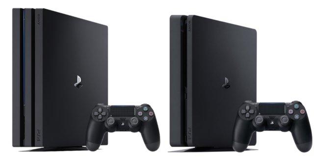 Links seht ihr die PS4 Pro, rechts die PS4 Slim.