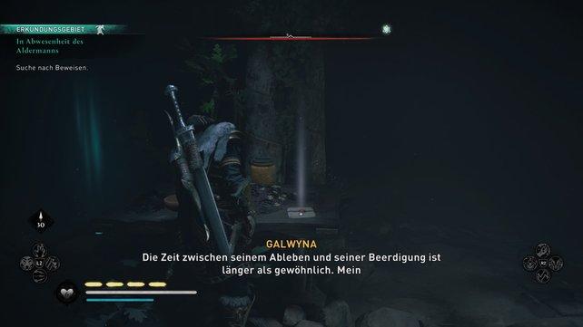 Nach eurem Gespräch mit Galwyna, solltet ihr euch nach links wenden Odins Sicht einsetzen und die Brosche aufnehmen.