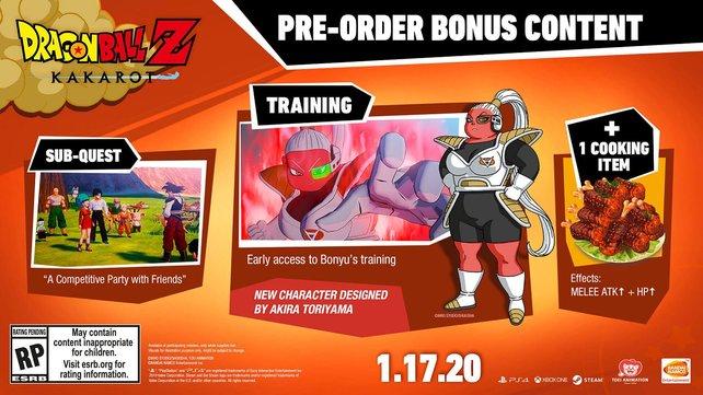 Die Inahlte des Vorbesteller-DLCs auf einen Blick. Bonyu ist dabei ein komplett neuer Charakter, den Akira Toriyama für das Spiel kreiert hat.