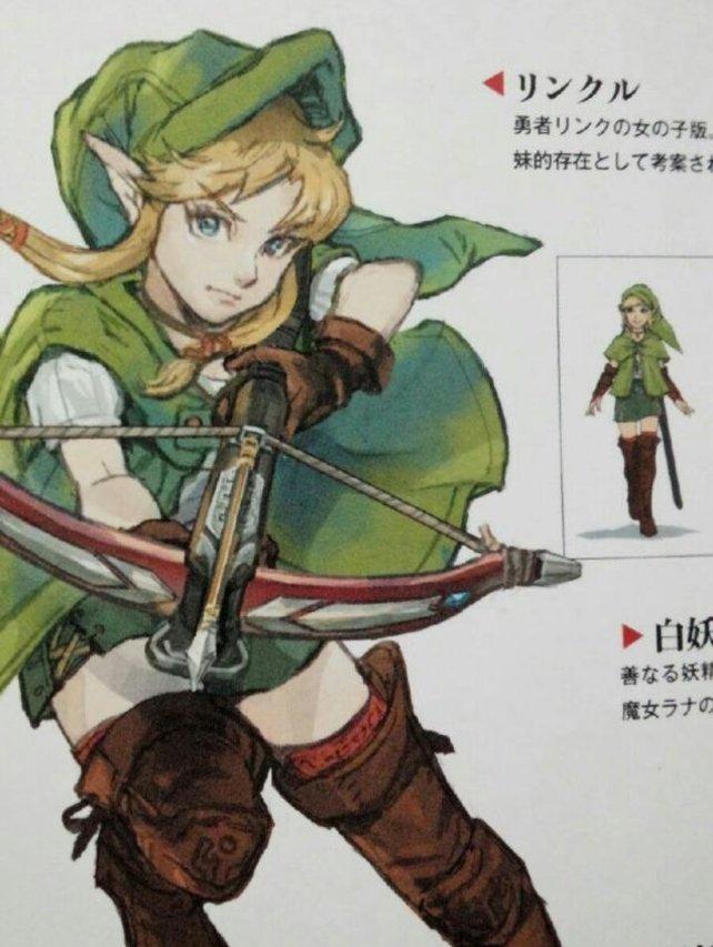 Dies ist die Zeichnung, auf der ein weiblicher Link-Charakter mit Armbrust zu sehen ist.
