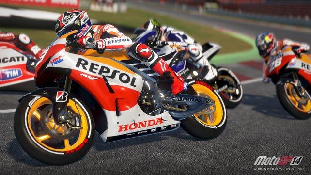 Die Motorräder sehen in Moto GP 14 sehr schön aus.