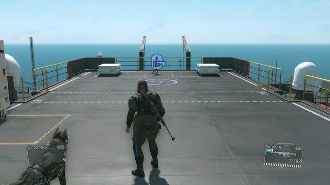 Das blaue Symbol zeigt den Startpunkt der Zielübung an.