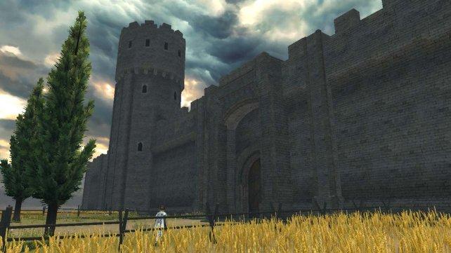 Eine lange Mauer begrenzt die Stadt.