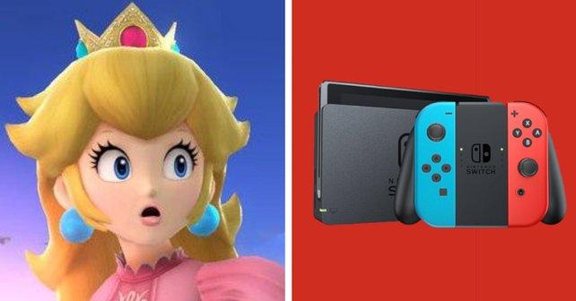 Prinzessin Peach, nachdem sie einen Blick auf das Menü ihrer Nintendo Switch geworfen hat.