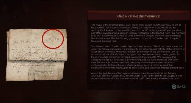 Als Belohnung erhaltet ihr von Usher dieses Dokument, auf dem ihr oben rechts vier Symbole erkennen könnt.