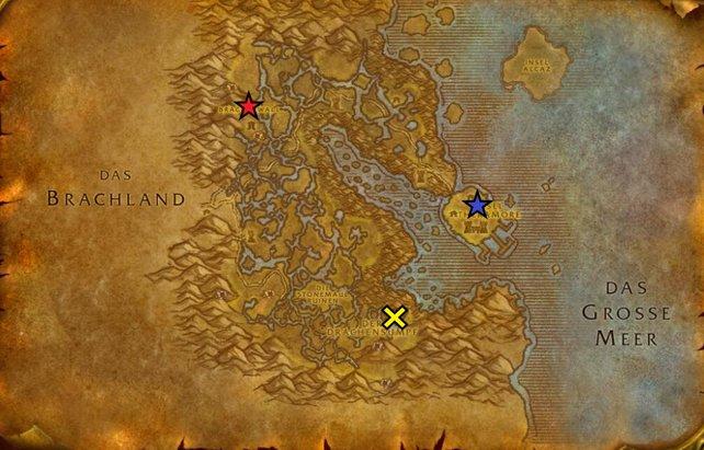 Die Sterne markieren die Flugpunkte (rot - Horde / blau - Allianz) und das gelbe Kreuz gibt an, wo sich der Eingang zu Onyxias Hort befindet.