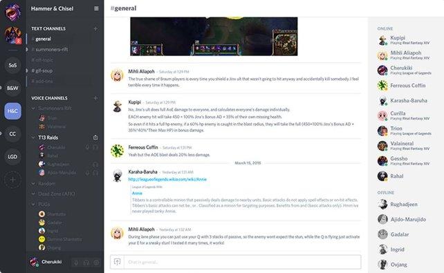 So sieht das Interface von Discord aus. (Bildquelle: www.discordapp.com)
