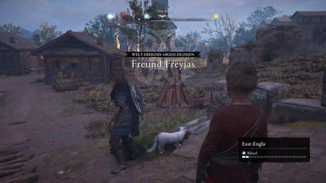 """Interagiert ihr mit der Katze, triggert es das Weltereignis """"Freyjas Freund""""."""