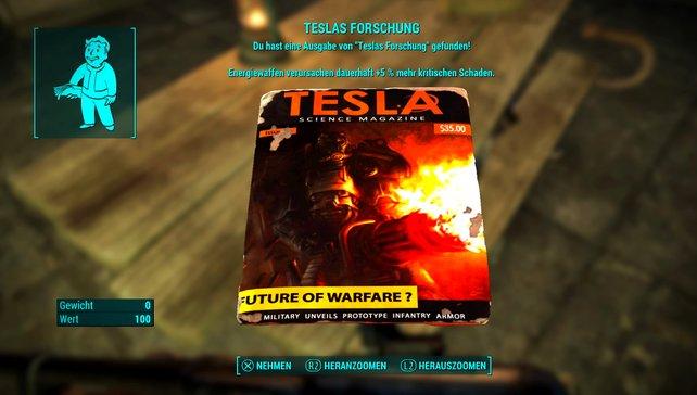 Die Magazine von Teslas Forschung verleihen euch Boni für Energiewaffen.