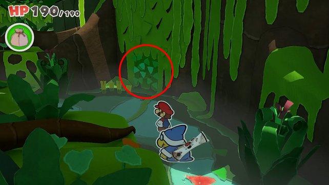An der markierten Stelle befindet sich der Geheimgang zum Schatz-Mini.