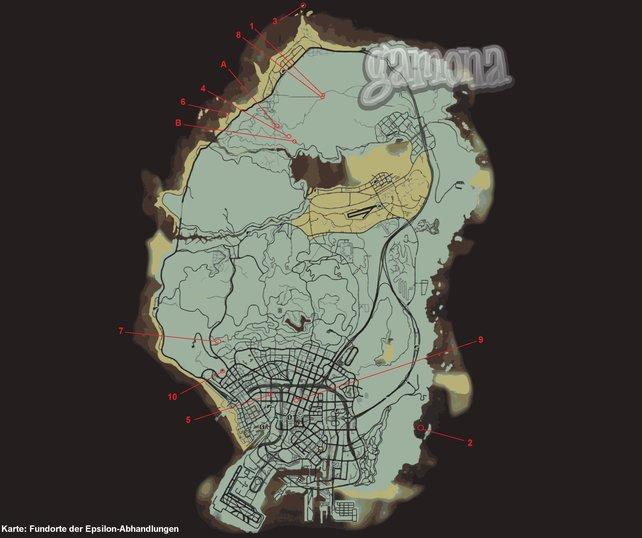 Fundorte der Epsilon-Abhandlungen. Klick auf die Map zum Vergrößern.