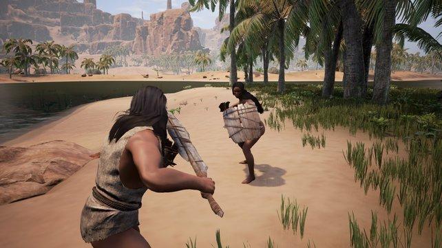 Spielt ihr Conan Exiles online im Multiplayer, dann kann es schon mal hart auf hart kommen.