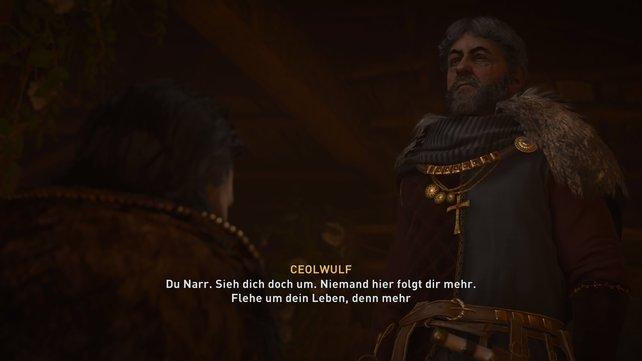 Nach einem langen Monolog, in der der König sich noch selbstsicher gibt, bricht er zusammen und gibt die Krone ab.