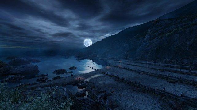 Eine typische Spielszene: Ihr blickt auf das Meer hinaus und lasst euch von der Atmsohäre von Dear Esther berieseln.